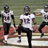 TD dance - Jacoby Jones (12) of the Baltimore Ravens celebrates his 108-yard touchdown kickoff return in the second half of Super Bowl XLVII at the Mercedes-Benz...