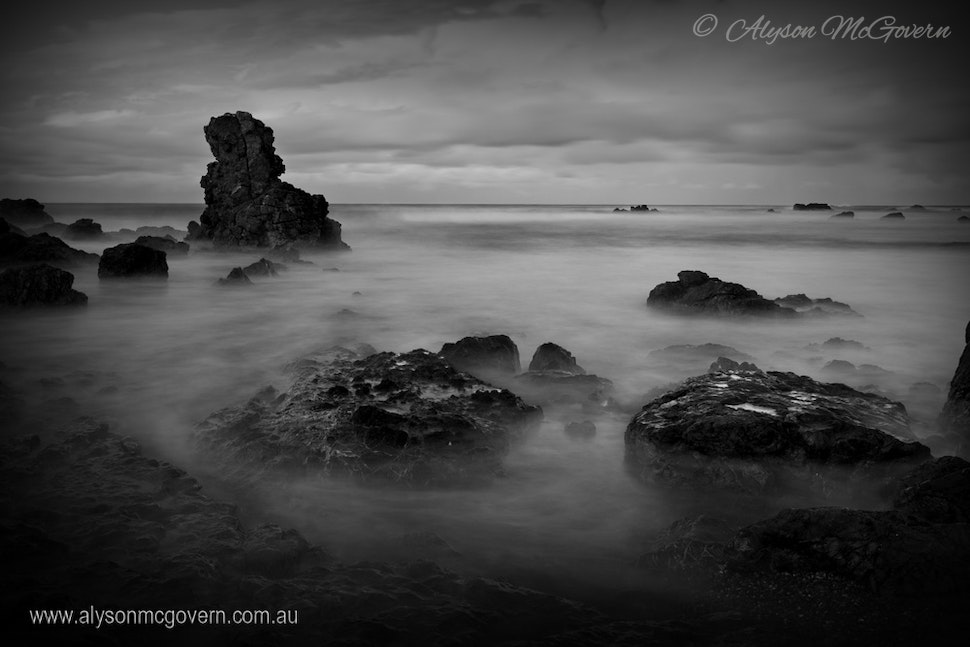 Flynns Beach Port Macquarie NSW_9712 - A long exposure image taken on dusk as the ocean waves rolls in creates a misty effect over the rocks at Flynns...