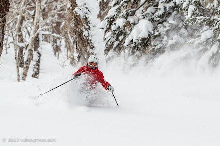 Skiing Furano Powder - Female skier powder skiing through the trees after the late season snow storm at Furano ski resort (Hokkaido, Japan). Photo: Jan...