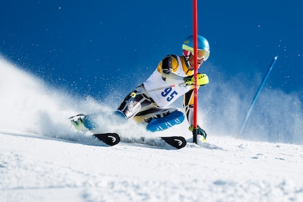140813_FIS_SL1_3445 - Athlete competing in SSA FIS Slalom race on Hypertrail at Perisher, NSW (Australia) on August 13 2014. Jan Vokaty