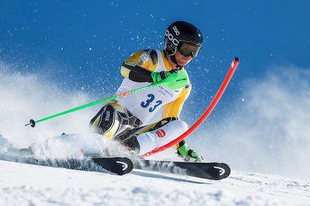 140813_FIS_SL1_3477 - Athlete competing in SSA FIS Slalom race on Hypertrail at Perisher, NSW (Australia) on August 13 2014. Jan Vokaty