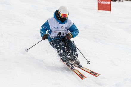 140819_Moguls_6420 - Athlete competing during day 1 of the Canon Australian Freestyle Mogul Championships at Perisher, NSW (Australia) on August 19 2014....