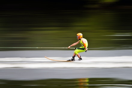 Bridge to Bridge 2011 - Young water skier heading towards the finish line at full speed during the Bridge to Bridge 2011 water ski race. Photo: Jan Vokaty