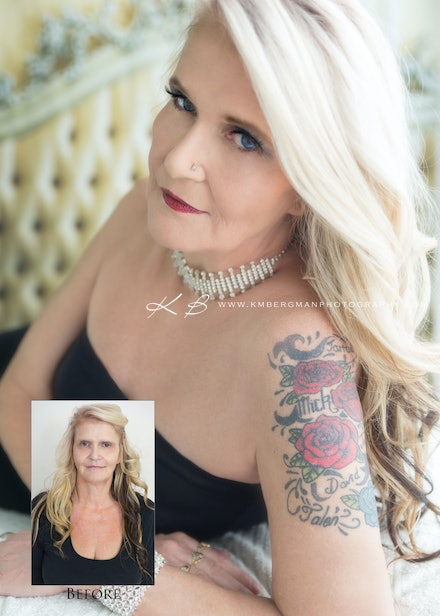 Before-and-after - Beautiful transformation by Logan City Portrait Photographer Kerry Bergman in her Edens Landing Studio.