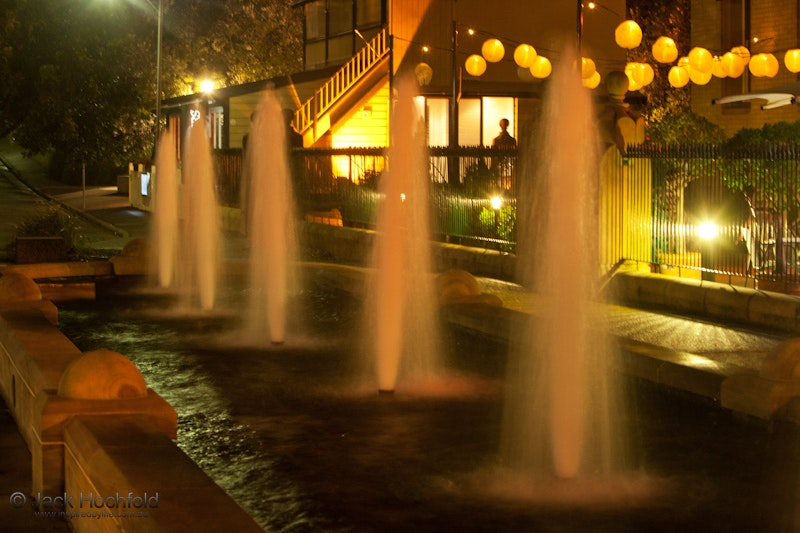 Nightime fountains, Customs House, Newcastle - An evening shot of the fountains outside the Customs House in Newcastle