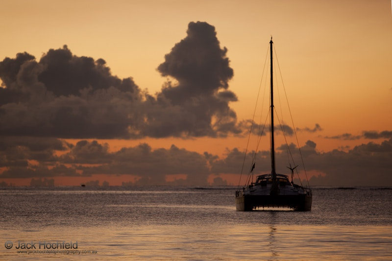 Yachts and boats at sunset, Troux aux Biches, Ile Maurice - Photographs taken at Troux aux Biches in Mauritius, on our stop over from Johannesburg on immigration...