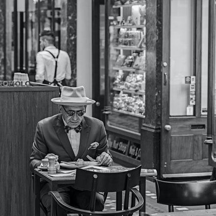 009 Sydney City Street 270216-3381-Edit - Eating breakfast in the Strand Arcade, Sydney, Australia.