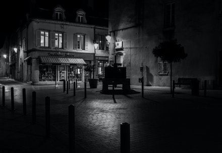 055 Burgundy 021015-1217 - Nuitts St Georges in the heart of wine country in Burgundy. My take on a scene from the movie Midnight in Paris