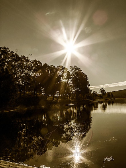 Light Refractions 2 - Sepia toned reflections on Lake Wivenhoe.