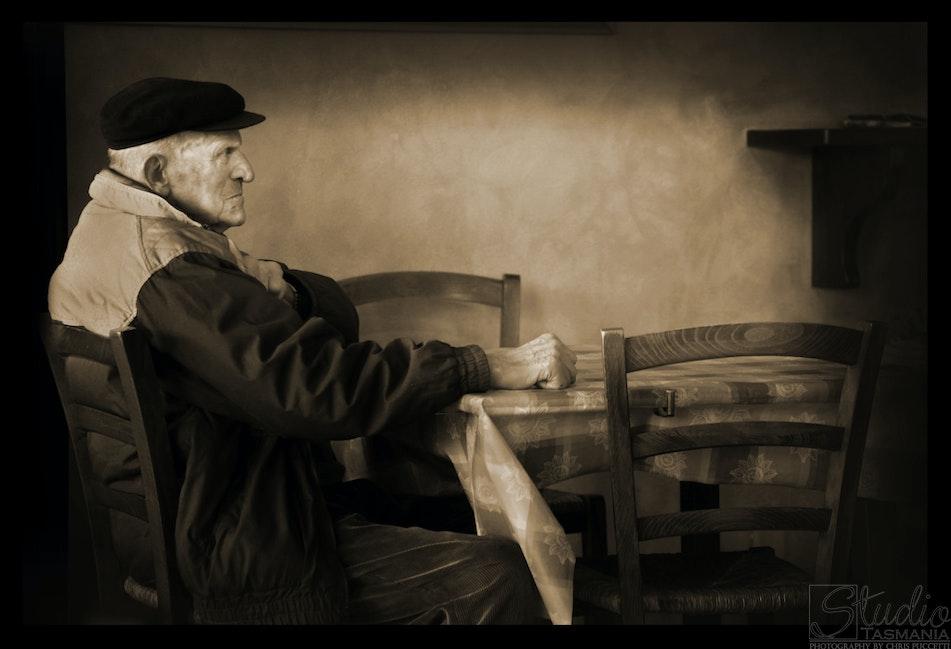 Lonely old man, Tuscany Italy