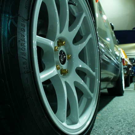 White Rota - Close up of the Rota wheels on the 10WSF Subaru Forester