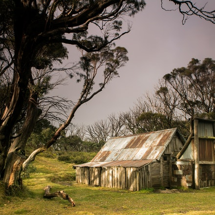 High Country Hut in Golden Light - An old hut bathed in golden light in Victoria's high country