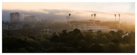 The MCG at Dawn - Priced from $95 for high quality, museum grade paper print. Click on shopping cart for more sizing and pricing, including canvas options