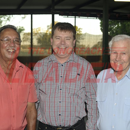 151107_SR24860 - Gerry Fogarty, Gary Walsh, Lionel Walsh  at the Sportsmans Dinner in Barcaldine, Saturday November 7, 2015.  sr/Photo by Sam Rutherford.