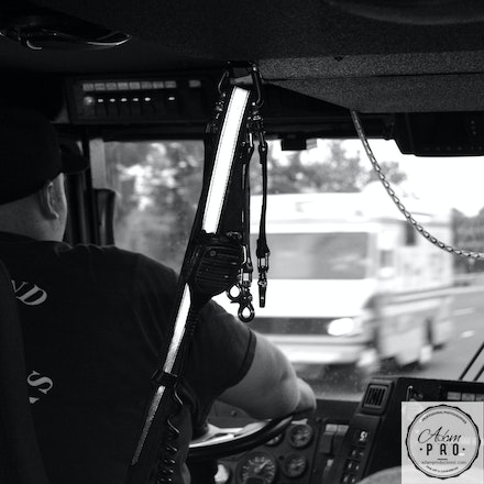On Board Coverage - Kentland, Maryland, July 10, 2014: On board coverage of firefighters in the line of duty.   Inside a fire truck on the way to a fire.